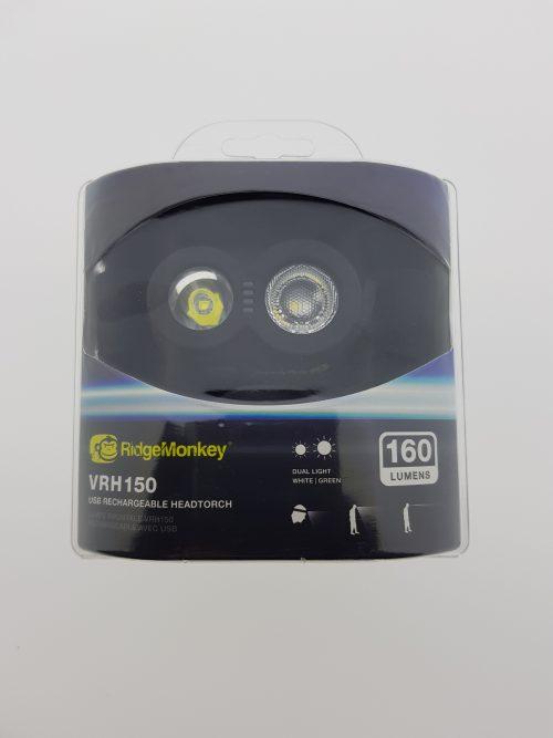 RidgeMonkey VRH150 USB S083000 Rechargeable Headtorch
